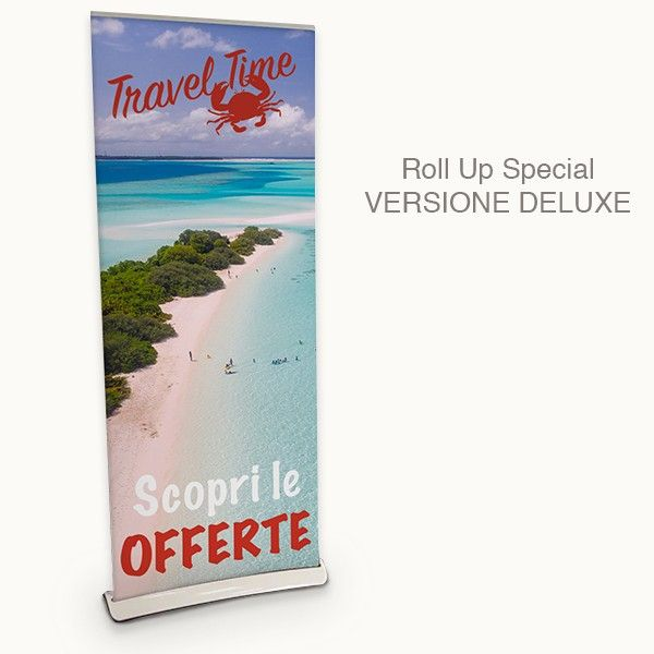 Roll Up speciale made in white ABS with aluminum details and bag supplied. Deluxe version with an elegant curve base. Print on pvc banner. Economic but extremely reliable