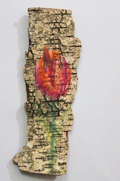 Mixed-Media-Mittwoch - Naturmaterialien, PanPastel & Birkenrinde - Malen mit Pastelkreide auf Baumrinde - Idee und Umsetzung Daniela Rogall