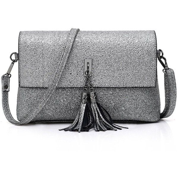 Gabrine Womens Evening Shoulder Bag Handbag Clutch Shining Sequins... ($16) ❤ liked on Polyvore featuring bags, handbags, clutches, sequined clutches, silver evening purse, silver shoulder bag, hand bags and evening handbags