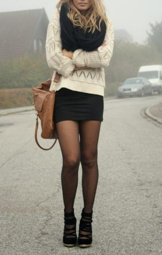 cozy knits, black skirt and stalkings
