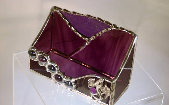 Deep Amethyst and Violet Purple Business Card Holder One of A