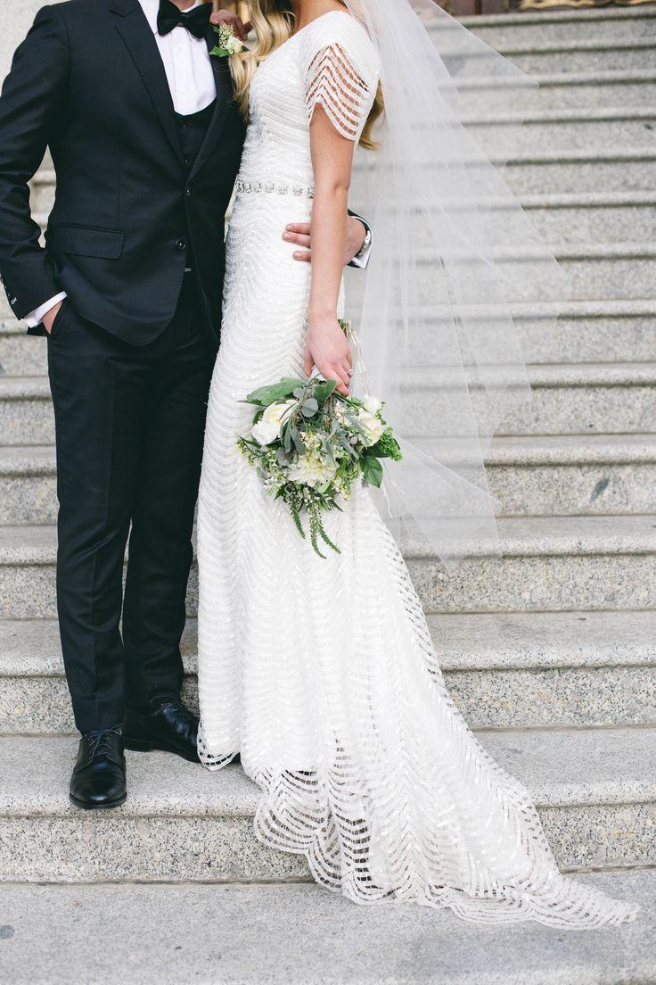 modest wedding dress with sleeves from alta moda. ---- photo by jessica janea