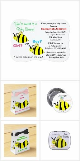 Baby Shower Bumble Bee Invitations and matching accessories.  Personalize it!  Original Graphic Artwork by TamiraZDesigns.