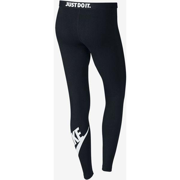 Nike Leg-A-See Logo Women's Leggings. Nike.com ($45) ❤ liked on Polyvore featuring pants, leggings, legging pants, nike, nike leggings, logo pants and nike pants