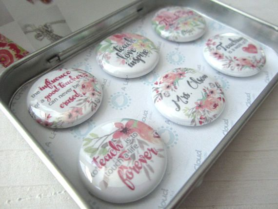 """Custom Magnet Teacher Gift Set.  Quotes include: """"Teacher's Name"""" """"the influence of a good teacher can never be erased"""" """"teach love inspire"""" """"thank you for all that you do"""" """"to teach is to touch a life forever"""" """"teaching is a work of heart"""""""