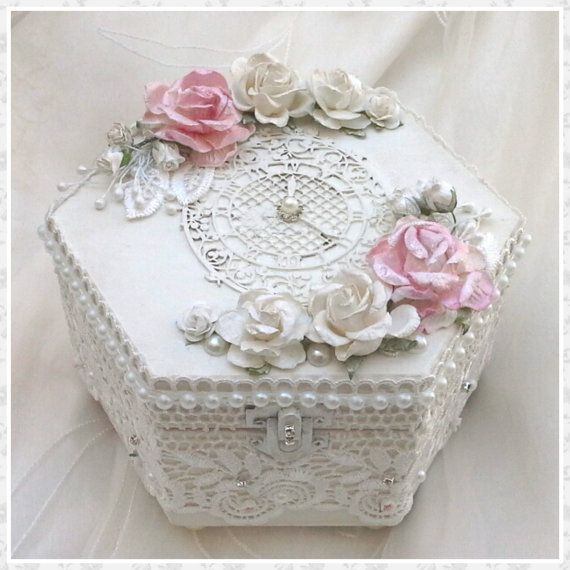Handmade jewellery box, trinket box, keepsake box, wedding box, shabby chic box, memory box, wedding gift, wedding favor, unique gift