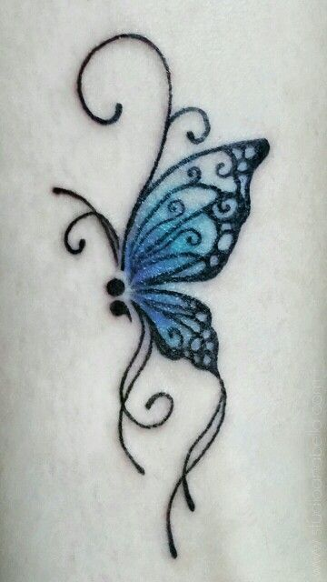 Semicolon Butterfly Tattoo Image