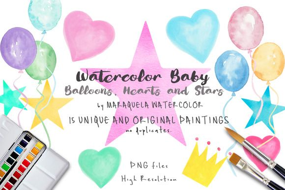 Watercolor Baby Clip Art - Balloons, Hearts, Stars and Crown illustrations in original watercolor by MARAQUELA WATERCOLOR. This collection includes: zip with 15 pictures (6 Balloons, 4 hearts, 4 Stars and 1 Crown) on separate layer PNG image Transparent background - 300dpi - Baby shower, Babies decor elements, nursery collection