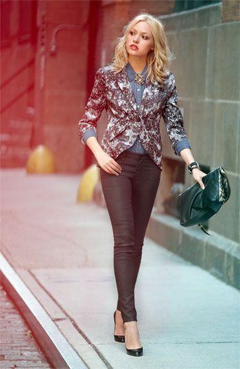 Bellatrix Lace Print Blazer; Trouvé Faded Denim Shirt; AG Jeans Coated Skinny