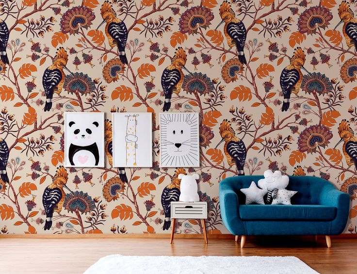 Orange & navy wallpaper with hoopoe and floral pattern