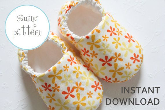 Baby Shoe Pattern Slipper Sizes 1 to 5 by petitboo on Etsy
