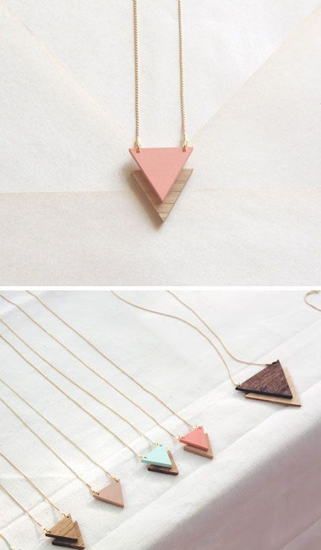 Simple manipulation of the shape to create necklaces using wood and colour