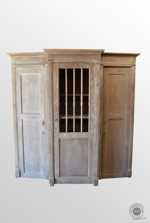 Antique French Cabinet Confessional Booth Wardrobe Kitchen Larder Cupboard c1850