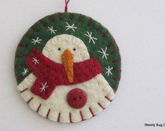 Let it Snow Ivory Wool Felt Snowman Christmas от WoollyBugDesigns