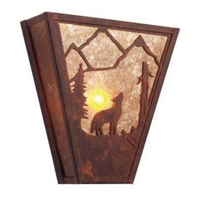 Steel Partners Bark at the Moon Vegas 1 Light Wall Sconce Shade Color: Khaki, Finish: Mountain Brown