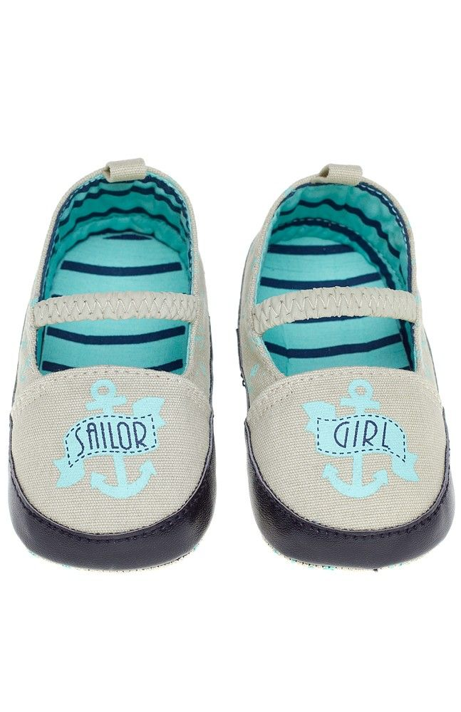 "SAILOR GIRL SHOES Keep her tiny toes safe with our new Sourpuss Crib Shoes. Featuring screen printed anchors and ""Sailor Girl"" banners, these shoes are canvas with vinyl trim, cotton lining and non-skid, anchor patterned soles.  Canvas Body / Vinyl Trim / Cotton Liner / Canvas and Rubber Sole ..."