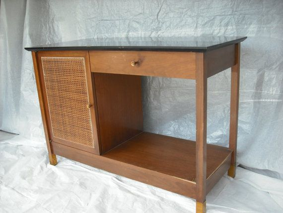 Paul McCobb style cane front library table hall by objectdecor