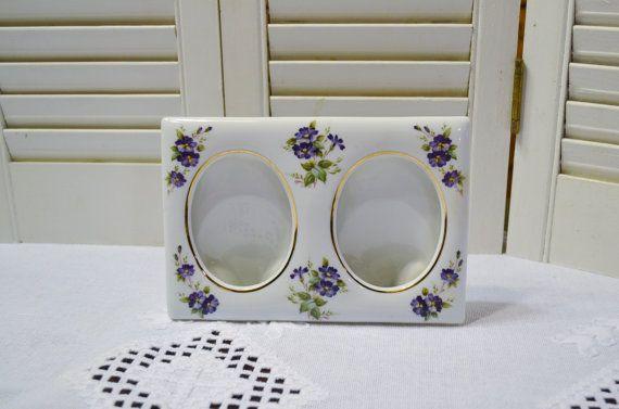 Vintage Ceramic Double Photo Frame Lefton China Purple Flower