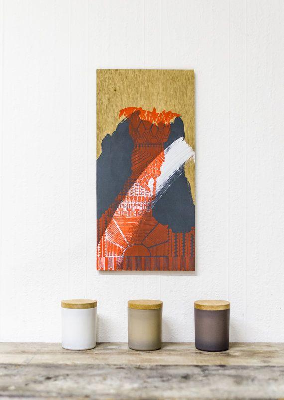 Lady Bird  Abstract Screenprint on Plywood by EyeJoyArt on Etsy