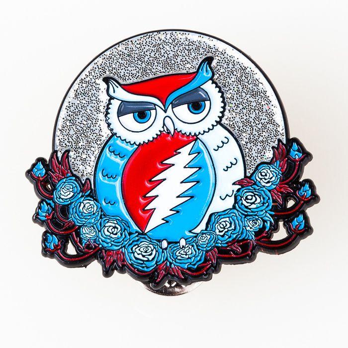 "Grateful Dead ""Grateful Owl"" Pin  more Grateful Dead art, apparel, and more at www.littlehippie.com"