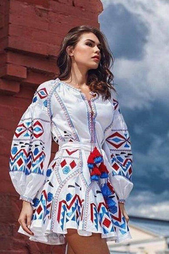 Long Ukrainian Sleeve Vyshyvanka Dress Dresses Embroidered Wedding 5HOwaHrq