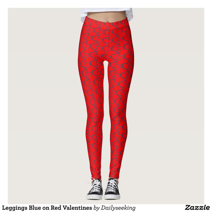 Leggings Blue on Red Valentines : Beautiful #Yoga Pants - #Exercise Leggings and #Running Tights - Health and Training Inspiration - Clothing for #Fitspiration and #Fitspo - Strong Female and Female Empowerment Apparel - #Fitness and Gym Inspo - #Motivational Colorful Workout Clothes by Talented Graphic Designers