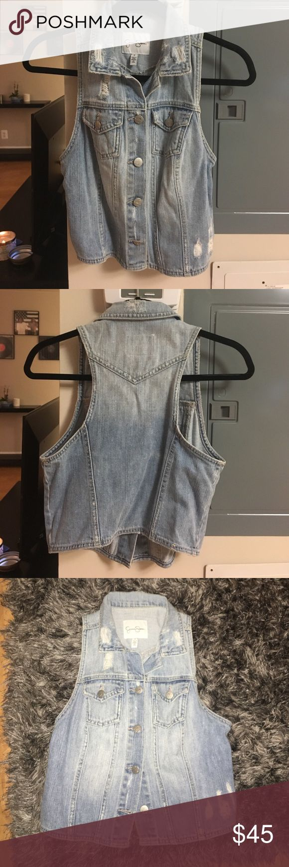 Jessica Simpson Distressed Jean Vest Light blue jean vest with distressed accents Jessica Simpson Jackets & Coats Vests