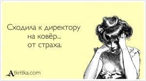 Аткрытка №364562:  Сходила к директору  на ковёр...  от страха. - atkritka.com