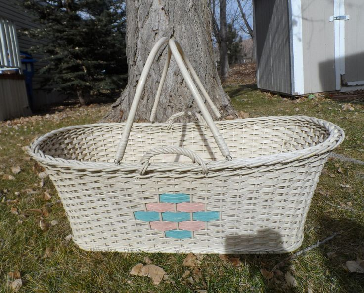 Antique baby Bassinet basket wicker woven reeds-Two Handle Cream, Pink and Blue Baby Bassinet by BCScollectibles on Etsy