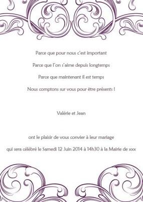 faire part de mariage - http://www.joyeuxmariage.fr/boutique Poche Style Carte Faire Part Mariage Violet Blanc Dessins Arabesque JM504