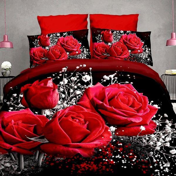 New 3d Bedding Set Hd Bed Linen Bedding Set Family Set Wish Rose Bedding 3d Bedding Sets Rose Comforter