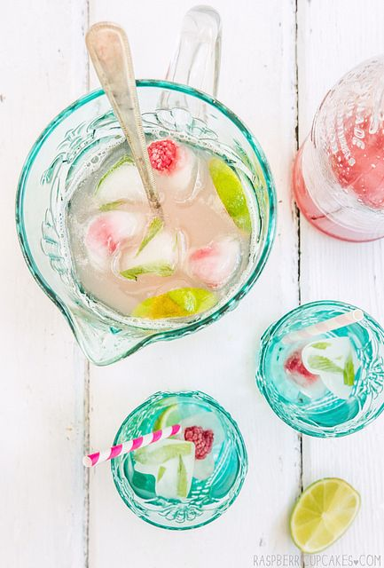 Rhubarb & Ginger Cordial with Mint & Raspberry Ice by raspberri cupcakes, via Flickr