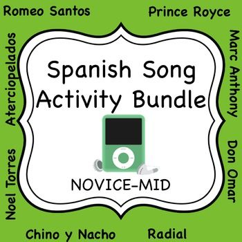 Over 30 activities for Spanish students to accompany some of the most popular songs in Latin music