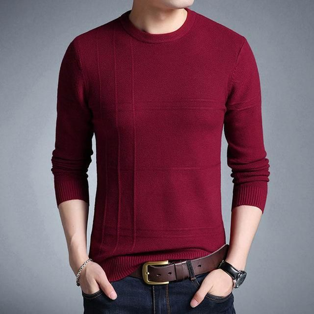 Men's Sweaters Plus Size Sweaters Slim Fit Pullover O-Neck
