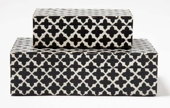 Tozai Home XMT001-S2 Patterns Transitional Decorative Box (2 Sets, Pack of 2 per Set) TOZ-XMT001-S2
