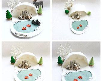 Besneeuwde Polar Playscape spelen Mat beweren Open Artic Forest toendra Fairytale Storytelling Winter Ice Queen Snowflake kleine wereld dier