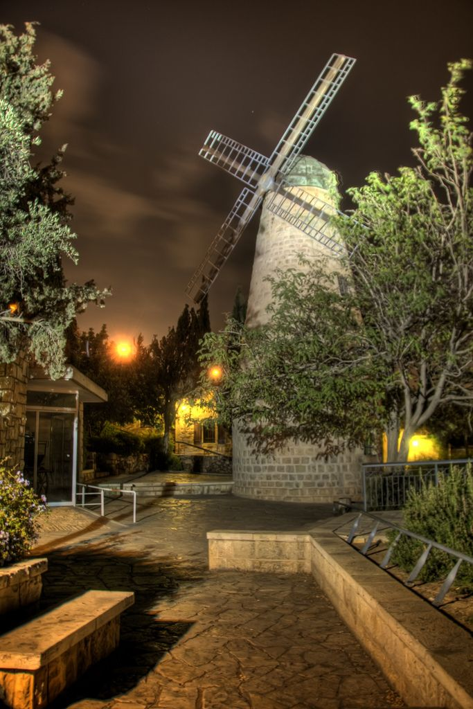 *JERUSALEM~THE MONTEFIORE WINDMILL:(less-commonly known as the Jaffa Gate Mill).Built in the Mishkenot Sha' ananim neighborhood in1857,which was then inOttoman-ruledPalestine.Designed as a flour mill it was not success due to a lack of wind. There were probably no more than 20 days a yr w/strong enough breezes.Another reason for the mill's failure was technological.The machinery was designed for soft European wheat,which required less wind power than the local wheat.