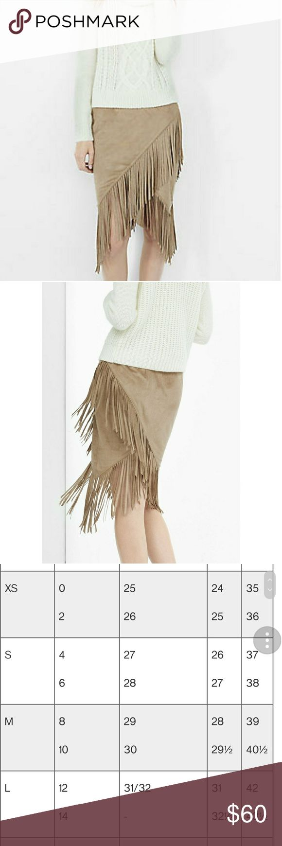 "Express Faux Suede Fringe Wrap Pencil Skirt Brand new with tags (BNWT), only worn to try on. Size 6  A supple, faux suede wrap skirt with ample, eight-inch fringe that swishes when you walk. Keep it simple and sexy with a shape-skimming ribbed sweater or go for a fully Southwestern vibe with a cami and denim jacket.  High waisted Hidden hook and zipper on side 8"" fringe embellishment Wrap hem; LinedPolyester/Spandex body; Polyester lining Machine wash Express Skirts"