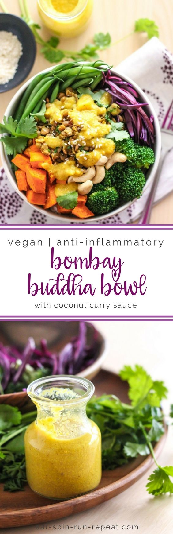 Anti-Inflammatory Bombay Buddha Bowl with 4-Ingredient Coconut Curry Sauce || Eat Spin Run Repeat