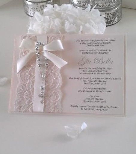 Vintage Lace Rosary Baptism/Christening or Communion Invitation Blush Pink  #BaptismChristening