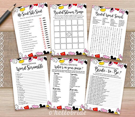 ★ This listing is for a DIGITAL INSTANT DOWNLOAD FILE only. No physical items will be shipped ★   Printable Disney Bridal Shower Games Package 1 -