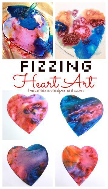 Fizzing baking soda and vinegar heart paint eruptions. STEAM - Science and art fun for kids perfect for Valentines Day or any time. Also great for fine motor skills. Arts and crafts activities for kids & toddlers.