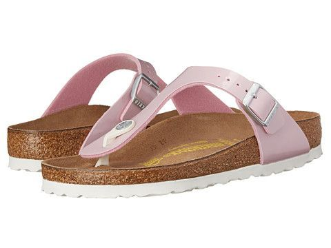 The Birkenstock Women's Gizeh Thong Sandal in pink features a Birko-Flor upper which is a unique material made of acrylic and polyamide felt fibers, a soft fabric which gives the sandal a smooth leather-like finish.
