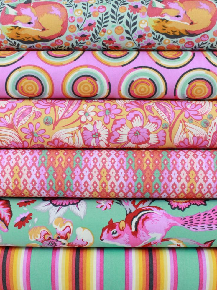 """Tula Pink for Free Spirit, Chipper, Sorbet in FAT QUARTERS 6 Total  Each Fat Quartermeasures: ~18"""" x 21/22""""  You will receive a Fat Quarter of each of the following…"""