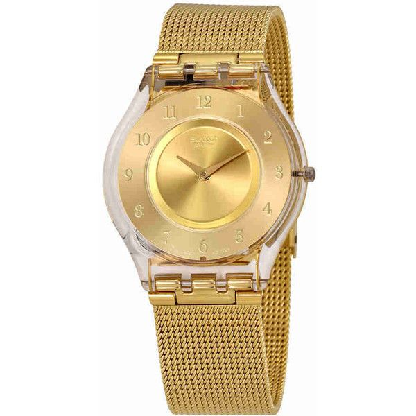 Swatch Generosity Gold Dial Ladies Mesh Watch ($122) ❤ liked on Polyvore featuring jewelry, watches, see through watches, water resistant watches, swatch jewelry, swatch wrist watch and gold-tone watches