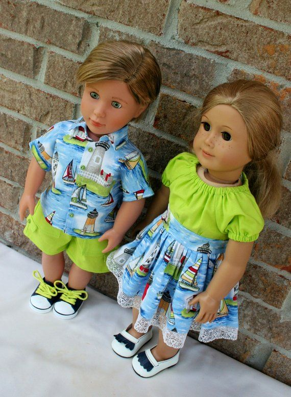 951a86817e34 18 Inch Doll Clothes, Boy and Girl, Brother & Sister Matching Twin Summer  Sets, With Boys Shirt and Shorts and Girls Dress