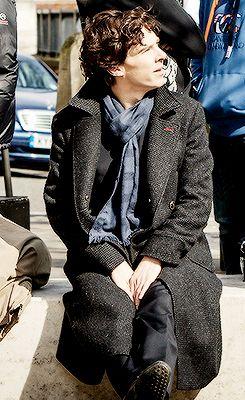 Benedict Cumberbatch behind the scenes of #Sherlock series 3