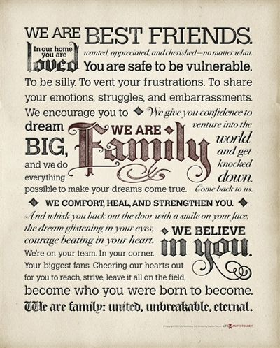 The Family Manifesto Poster from Life Manifestos-beautiful statements to include in a manifesto.