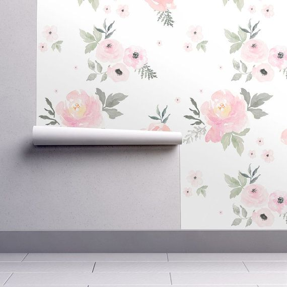 Floral Nursery Wallpaper - Sweet Blush Roses by Shop Cabin - Custom Printed Removable Self Adhesive Wallpaper Roll by Spoonflower