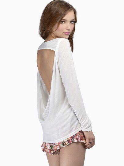 White Long Sleeve Backless Slim T-Shirt